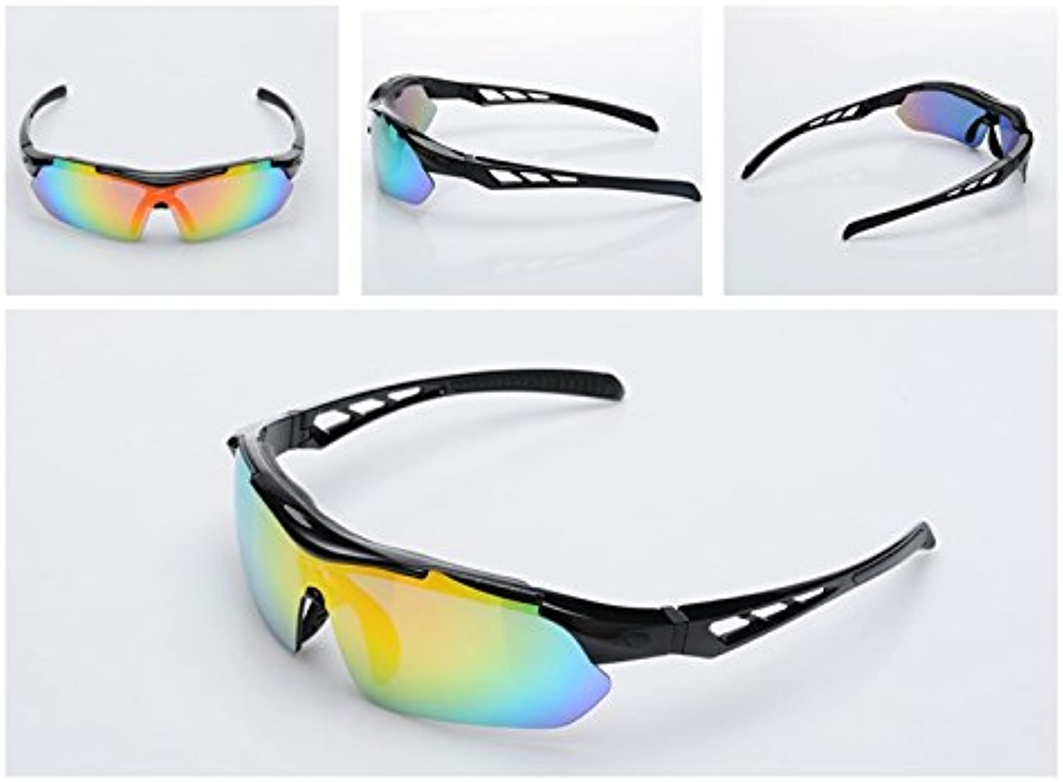 Polarized Sports Sunglasses Cycling Glasses Interchangeable Lenses Cycling Glasses for Outdoor Sports(Black)