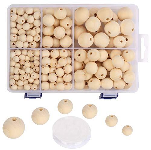 VABNEER Perles en Bois Naturel 320 pièces Rond Naturel Perles en Bois pour Le Bricolage Décorations Faites à la Main Fabrication, 6 tailles (10mm, 12mm, 14mm, 18mm, 20mm, 25 mm)