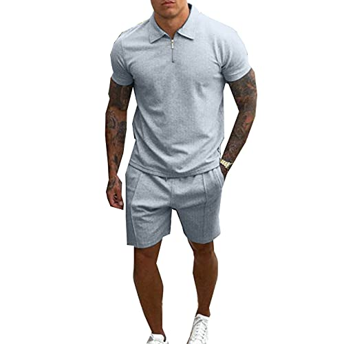 Traje De Moda para Hombre Pantalones Cortos De Manga Corta para Hombre Conjunto Informal Camiseta Delgada +...