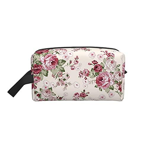 Bolsa de maquillaje grande con diseño de rosas y flores, organizador de cosméticos portátil para mujeres y niñas