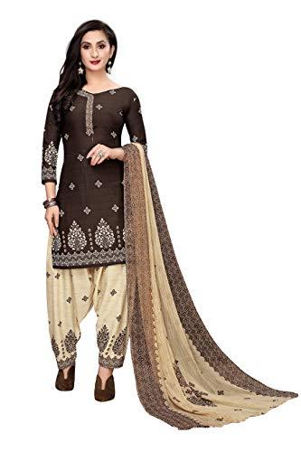 Oomph! Women's Unstitched Georgette Salwar Suit Dupatta Material – Coffee Brown
