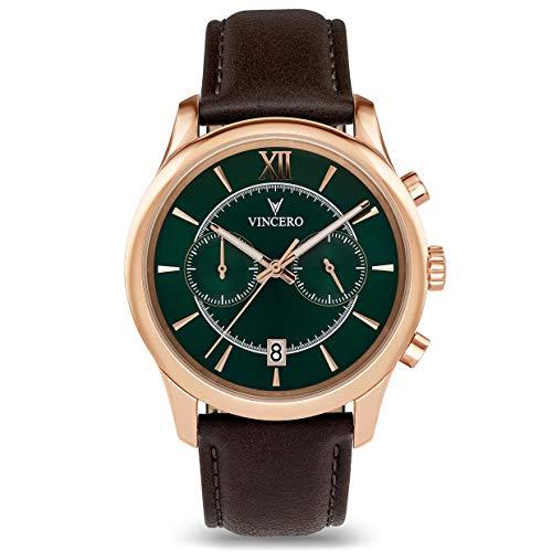 Vincero, orologio da uomo Bellwether con cinturino in pelle, cronografo da...