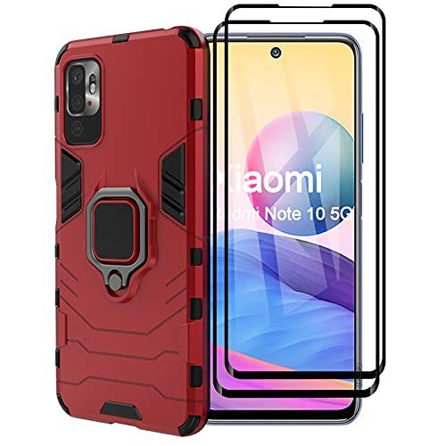 ESTH® Funda para Xiaomi Redmi Note 10 5G con 2 Piezas Protector de Pantalla, Giratorio Soporte de 360°, Compatible con Soporte Magnético para Coche, Carcasa Rojo