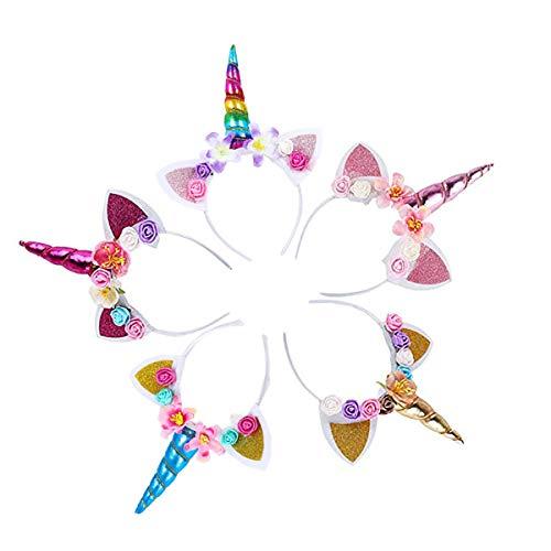 Diadema de unicornio con orejas de flor de color arcoíris, 5 unidades en diferentes diseños para fiesta de cumpleaños de niña, festivales de cosplay