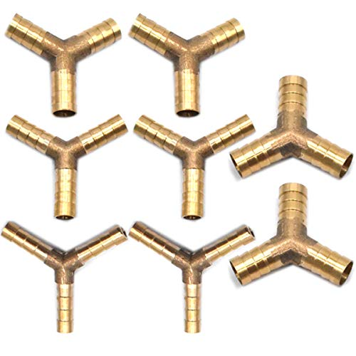 Guador unión de latón de Y de de 3 vías Conector Púas de la Manguera Combustible Púas Neumática Adaptador para Aire Combustible Agua Gasóleo Agua Aire Gasolina Gas 4 Piezas(6mm 8 mm 10 mm 12 mm)