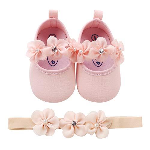 TMEOG 2 Pcs Kleinkind Schuhe+Stirnband, Baby Mädchen Blumen Schuh Anti-Rutsch-Weiche Besondere Anlässe Taufe Hochzeit Party Schuhe (0-6Months, B_Pink)