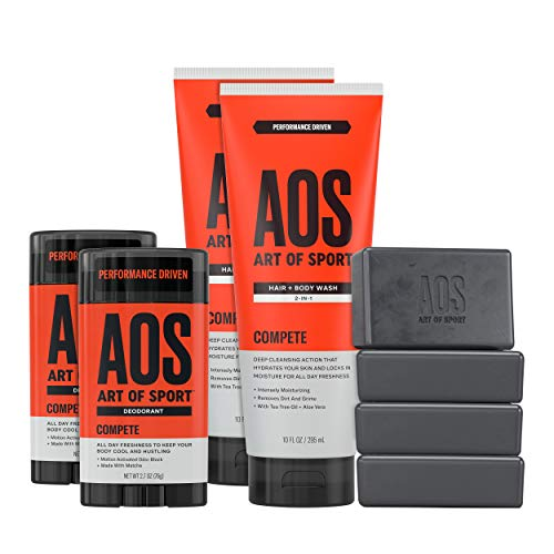 Art of Sport Athlete Collection, Compete Scent, 8pc Skin and Body Care Set with Aluminum-Free Deodorant, Body Wash, and Body Bar Soap