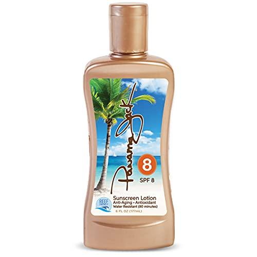 Panama Jack Sunscreen Tanning Lotion - SPF 8, Reef-Friendly, PABA, Paraben, Gluten & Cruelty Free, Antioxidant Moisturizing Formula, Water Resistant (80 Minutes), 6 FL OZ (Pack of 1)