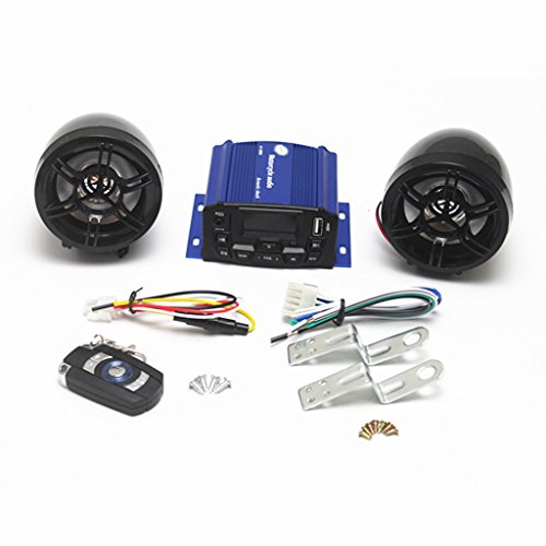 Zantec - Altavoz impermeable antirrobo, reproductor MP3, radio USB, para moto, scooter y bicicleta, pantalla de 3 pulgadas