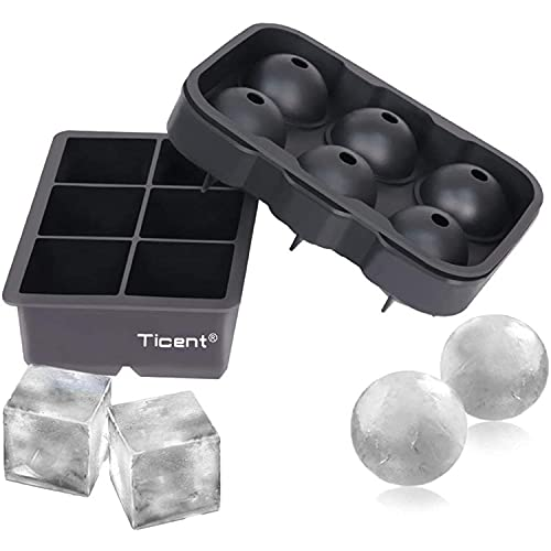Ticent Ice Cube Trays (Set of 2), Silicone Sphere Whiskey Ice Ball Maker with Lids & Large Square Ice Cube Molds for Cocktails & Bourbon - Reusable &...