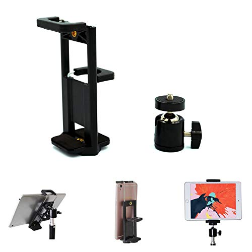 Universal Tablet Cell Phone Tripod Adapter Mount Stand Clamp Holder with 360 Degree Rotatable Ball Head for iPhone, iPad, iPad Air, iPad Mini, Kindle Fire, Samsung Galaxy Tab, Microsoft Surface