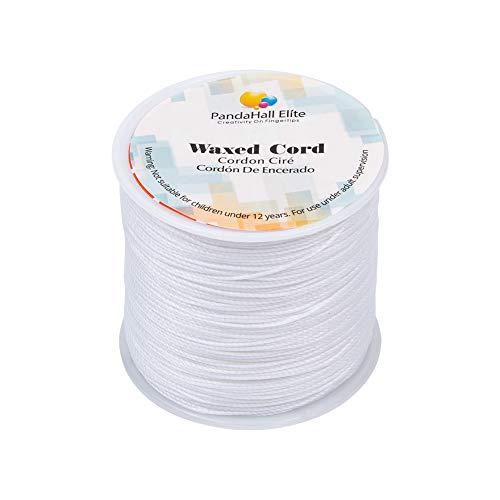 PandaHall Elite 106m / Rolle 0.5mm R&e gewachste Baumwollschnur Faden Friesen String Spool für Schmuckherstellung & Macrame Supplies weiß