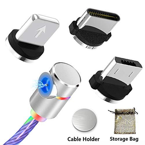 Magnetisch Schnellladekabel USB Typ C Kabel mit Sichtbarem Fließendem LED Mehrfarbenlicht 3-in-1 Adapter Ladekabel für Geräte mit Telefon/i-Produkten (Keine Datenübertragung)