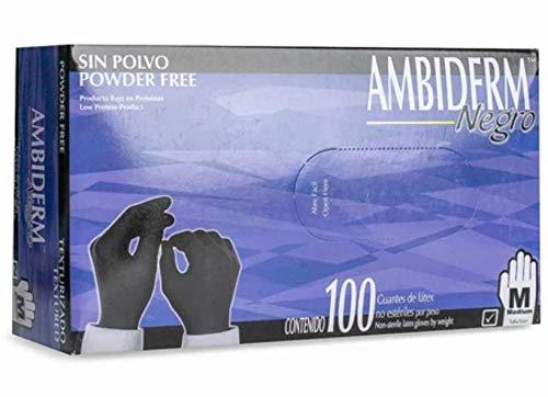 AMBIDERM Guante Texturizado Negro Libre de Polvo Caja C/100 PZAS (Mediano)