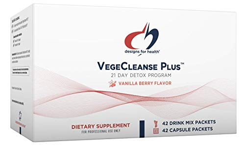 Designs for Health VegeCleanse Plus 21 Day Detox Program - Promotes Healthy Liver Function + Metabolic Cleanse with Antioxidants + Herbs (42 Protein Powder Drink Mixes + 42 Vitamin Packs)