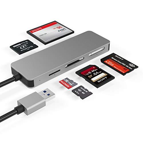USB3.0-kortläsare, Cateck 6-i-1 aluminiumkortläsare, USB 3.0 (5 Gps) hög hastighet TF/SD/MS/M2/XD/CF minneskort solt kombo adapter, plug and play