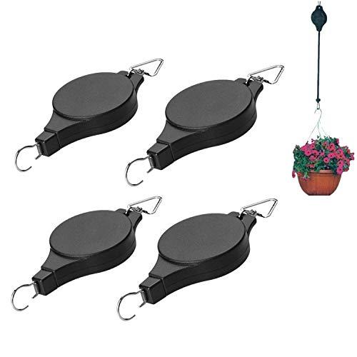 4Pcs Retractable Plant Pulley Adjustable Hanging Flower Basket Hook Hanger for Garden Baskets Pots and Birds Feeder Hanging Basket Indoor Outdoor Decoration (Black) (Black)
