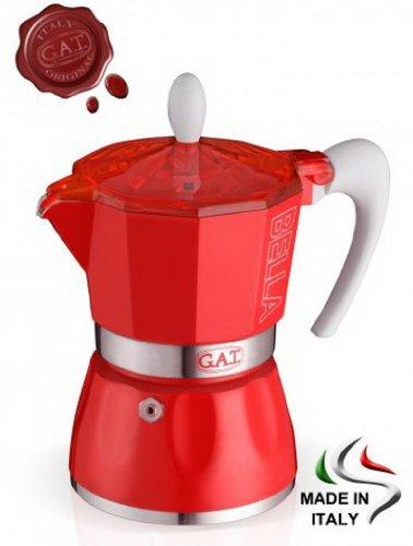 GAT Italy Amore Acero Inoxidable, 30 x 25 x 25 cm Color Dorado Cafetera Italiana de 6 Tazas