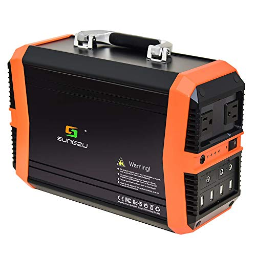 TIANQING mobiele 300 W wisselstroom-powerbank-generator, 11,1 V/31,2 Ah wisselstroom-noodstroomvoorziening met draagbare oplader met 2 gelijkstroomuitgangen, USB-opladen