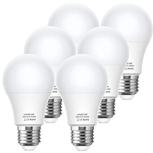9W LED Birne, LOHAS E27 LED Lampe, Ersetzt 60W Halogen/Glühlampe, Kaltweiß 6000K, 820LM, Nicht Dimmbar, A60 LED Leuchtmittel, LED Beleuchtung, 220-240V AC/DC, 6er Pack