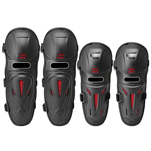 Rodilleras de codo de motocicleta 4 piezas, Almohadilla protectora de rodillera equipo protector malla alta, Motocross Brace Knees Shin Guards Armor Set para moto, ciclismo, carreras, bici suciedad