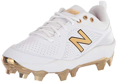New Balance Women's Fresh Foam Velo V2 Molded Softball Shoe, White/Gold, 7.5