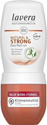 Lavera Deo Roll-on NATURAL & STRONG 48+ h - vegan - Naturkosmetik - Bio-Ginseng & Natürliche Mineralien - ohne Aluminium - Zuverlässig geschützt - 48 Stunden Deo Schutz - 50 ml