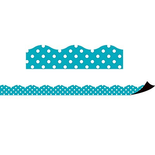 Teacher Created Resources Teal Polka Dots Magnetic Border (77257)