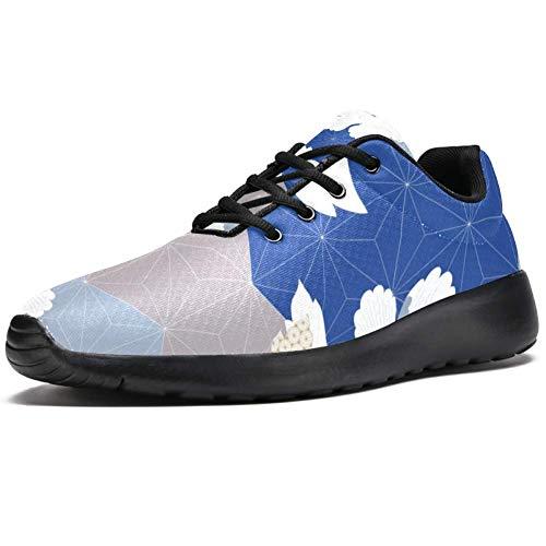 TIZORAX Laufschuhe für Herren, japanische Pfingstrose, Blume, geometrische Form, modische Sneaker, Netzstoff, atmungsaktiv, Wandern, Tennisschuh, Mehrfarbig - mehrfarbig - Größe: 47 EU