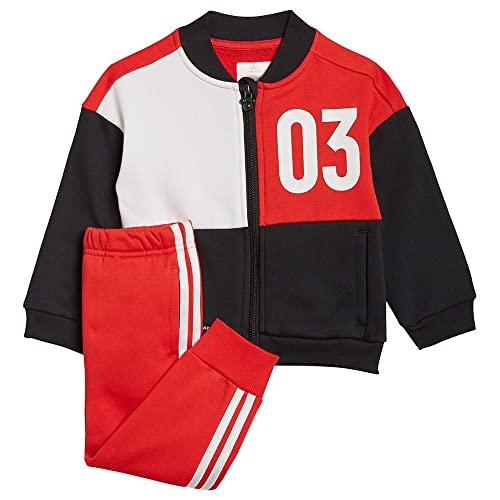 adidas INF DY MM Jog B Set, Top:Black/Vivid White Bottom:Vivid Red S21/WHITE, 6-9M Baby-Boys