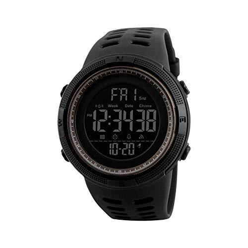 Redlemon Reloj Deportivo Militar con Pantalla Digital, Resistente al Agua, Pantalla Retroiluminada, con Cronómetro, Alarma, Dual Time, Temporizador, Correa Ajustable, Modelo 1251. Negro