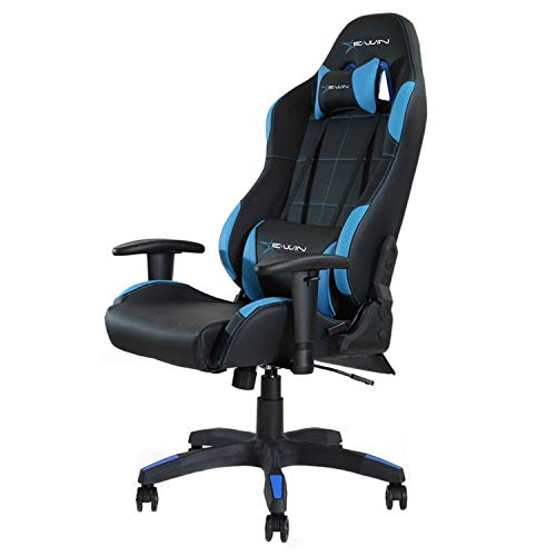 E-WIN Gaming Chair Ergonomic High Back PU Leather Racing Style with Adjustable Armrest and Back Recliner Swivel Rocker Office Chair Black Blue blue chair gaming