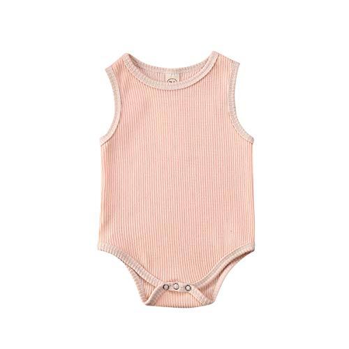Conjunto de Body para bebé Recién Nacido Unisex 3-24 Meses Mameluco Botones de Color sólido Lindo Simple Clásico Dulce Casual Verano Marrón Rosa (Rosa, 3-9M)