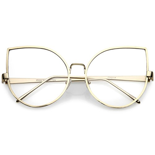zeroUV - Oversize Slim Metal Arms Round Clear Flat Lens Cat Eye Glasses 62mm (Gold/Clear)