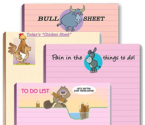 4 Funny Notepad Assorted Pack - Great Gift Set - 4.25 x 5.5in - 50 Sheets Per Pad (Humorous Set #1)