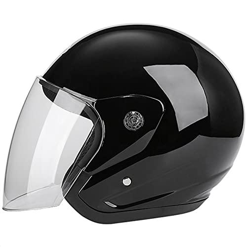 Motorrad Halbhelm Vintage Roller Helm Damen Herren Retro Open Face Motorradhelme DOT/ECE Zertifiziert Leicht Atmungsaktiv Straßensonnenschutz Moped Crash Helm (55-60cm),Schwarz