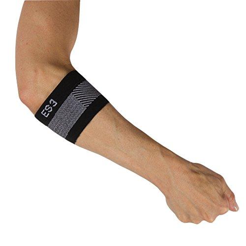 Orthosleeve manga para epicondilitis compresión graduada ES3, Negro, talla M - 3 zonas de compresión - Corrector del codo de tenista - Reduce el dolor en el codo y el antebrazo - Reduce la inflamación ⭐