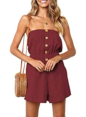 ZESICA Women's Summer Off Shoulder Strapless Solid Color Button Down Elastic Waist Short Jumpsuit Romper Wine