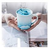CHENXIANGTA8 Tazas de Cafe CeramicTea Copa con Tapa Regalos CeramicCoffee Copa Hecha a Mano PotteryCeramic Taza de café for homesLovely Salud cumpleaños, Azul Tazas Personalizadas