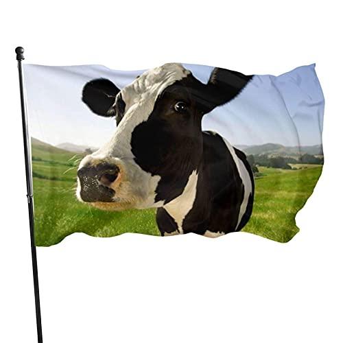 GOSMAO Bandera de jardín Encantadora Vaca lechera Color Vivo y Resistente a la decoloración UV Bandera de Patio Cosida Doble Bandera de Temporada Banderas de Pared 150X90cm