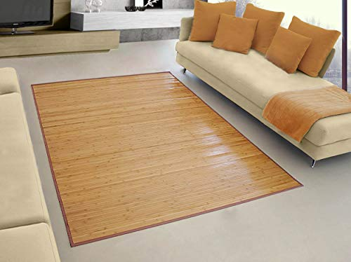 Hogar y Mas Alfombra Pasillera, Salón o Dormitorio, Madera de Bambú Natural para Interior (140x180)