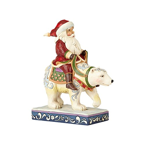 Heartwood Creek Santa Riding Polar Bear Figurine, RESIN, Multi-Colour, 8.5 x 15.5 x 18 cm