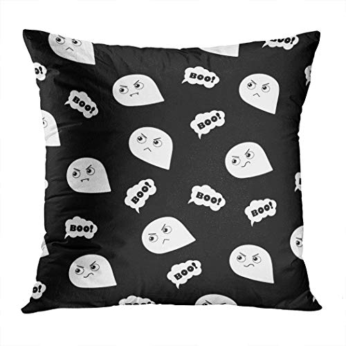 Llsty Throw Pillow Cover Polyester Print Halloween Spooky Boo Ghost Black Art Autumn Party Cartoon Celebration Soft Square for Couch Sofa Bedroom Pillowcase Home Style Cushion Case 20 x 20 Inch