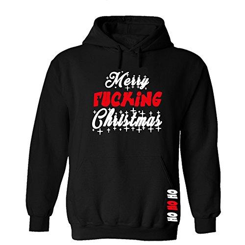 Druckstelle PMS Merry Fucking Christmas Stars Hoodie Sweatshirt Pullover Fun Schwarz (S)