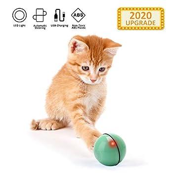 EKKONG Jouet Interactif pour Chat,Balle Animée Intelligente, Automatique à Bille Roulante, Ballon Rotatif à 360 Degrés, Balle Jouet de Chat Rechargeable avec Lumière LED pour Chatons (Vert)