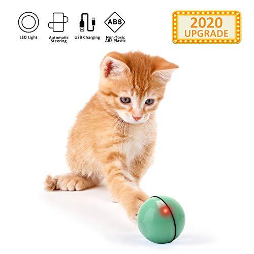 EKKONG Giocattoli Gatto Interattivi Palla, Giocattolo Gatto Palla con Luce a LED, Palla USB Ricaricabile, Sfera Rotante Automatica, Esercizi Intrattenimento Giocattolo per Cuccioli (Verde)