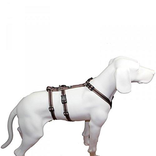 No Exit ausbruchsicheres Hundegeschirr für Angsthund, Sicherheitsgeschirr für Pflegehund, Panikgeschirr, braun Muster, Bauchumfang 40-60 cm, 15 mm Bandbreite