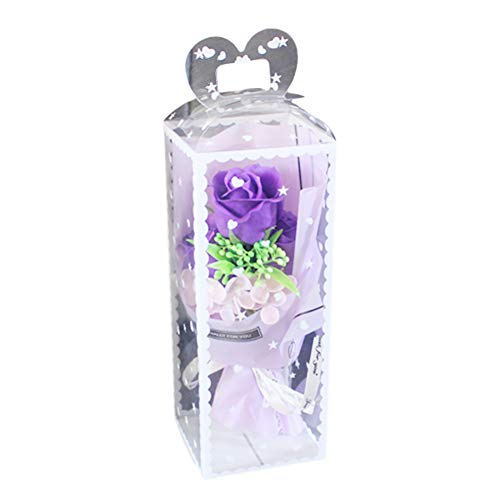 fuchsiaan Handmade Soaps Rose Flower Gift Box, Realistic Soaps Flower Mothers Day Valentine's Day Propose Party Birthday Wedding Box, 1 Bouquet Purple
