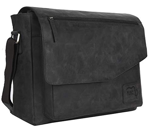 TUSC Triton Grau Leder Tasche Laptoptasche bis 17 Zoll Herren Umhängetasche Aktentasche Schultertasche für Büro Notebook Messenger Bag Laptop iPad, Größe- 41x31x12 cm