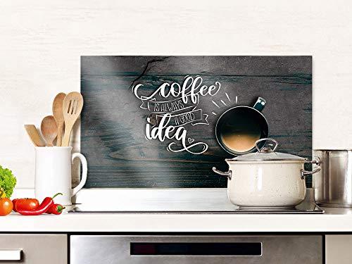 GRAZDesign Spritzschutz Küche Glas Spruch Kaffee mit Kaffeetasse, braun, Küchenrückwand Herd, Glasplatte / 60x40cm